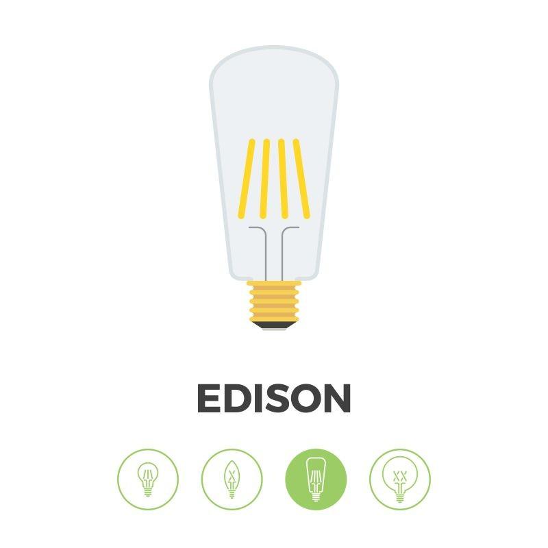 Bombilla Filamento LED E27 4W 2200K 400lm ST64 Edison