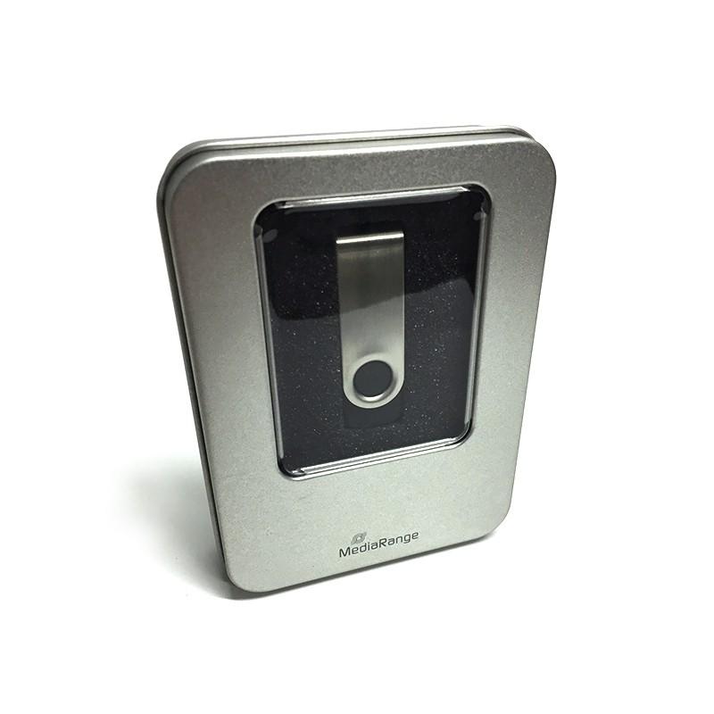 MediaRange Caja para Pendrive con Ventana Metálica 1ud