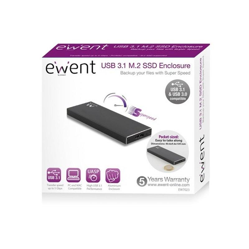Caja Externa SSD M.2 a USB 3.1 Ewent EW7023 Aluminio