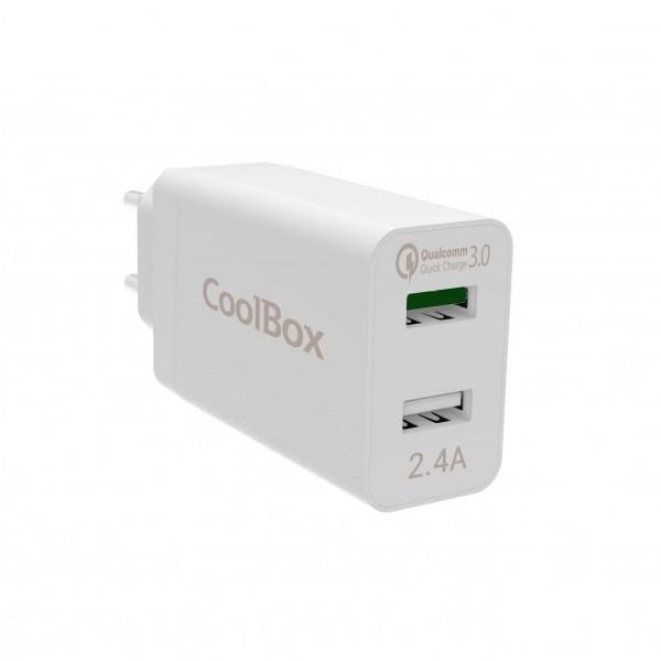 Cargador rápido USB para pared CoolBox COO-CU2QC30-T
