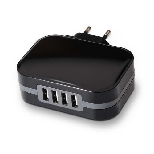 Cargador de Pared 4 x USB TooQ TQWC-1S04 (6.8A) Negro
