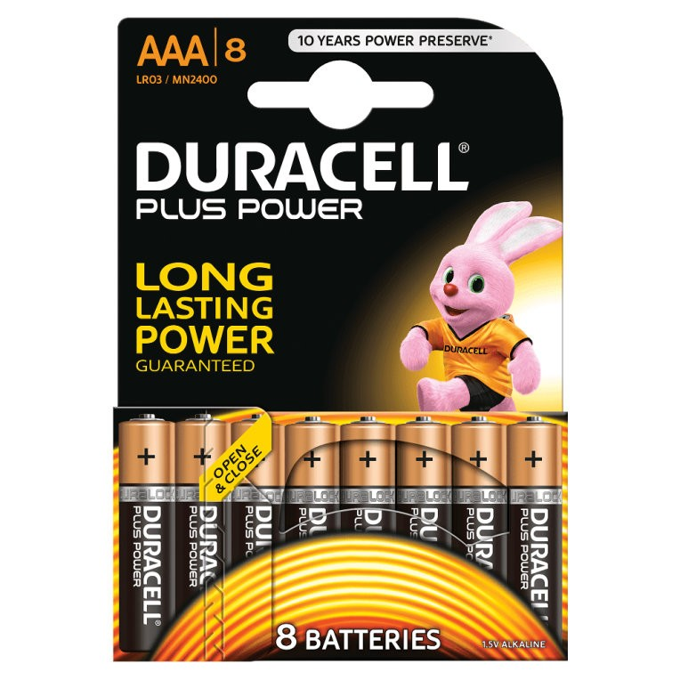 Pila Alcalina AAA Duracell Plus Power MN2400B8 Pack 8uni