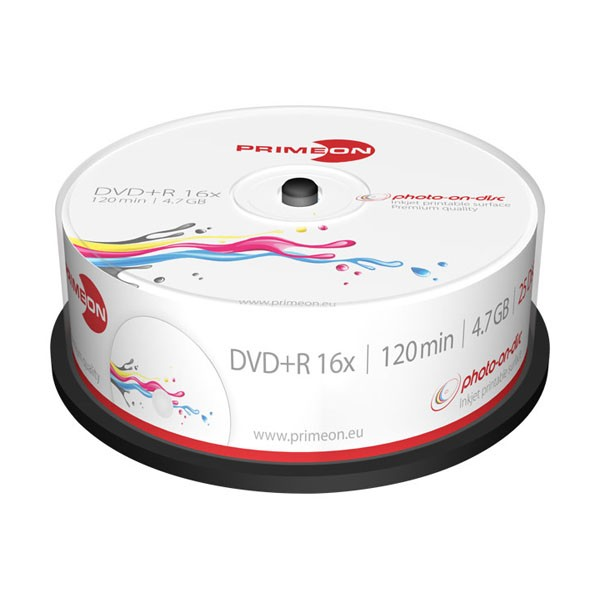 DVD+R 16X PrimeON Photo FF Printable Tarrina 25 uds