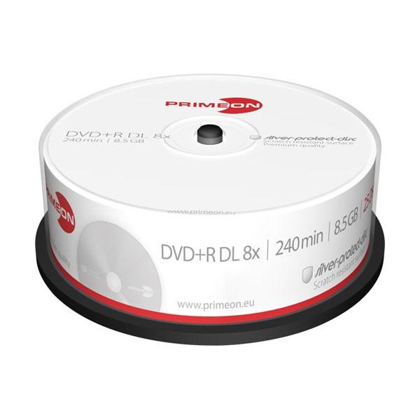 DVD+R Doble Capa 8x PrimeON Silver Tarrina 25 uds