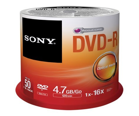 DVD-R 16x SONY 4.7GB Tarrina 50 uds