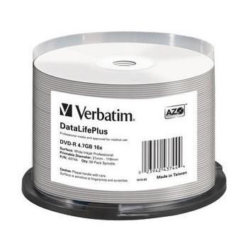 DVD-R 16x Verbatim Inkjet Printable Blanco FF Tarrina 50 Uds.