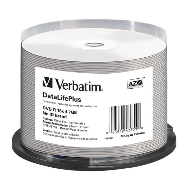 DVD-R 16x Verbatim Thermal Printable Blanco FF Tarrina 50 Uds.