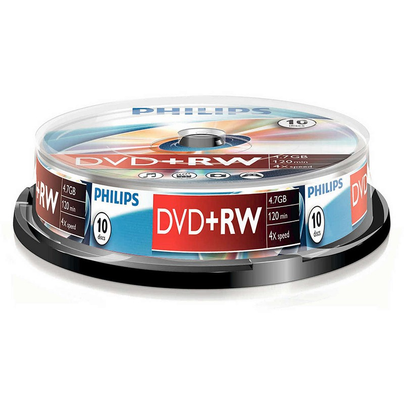 DVD+RW 4x Philips Tarrina 10 uds
