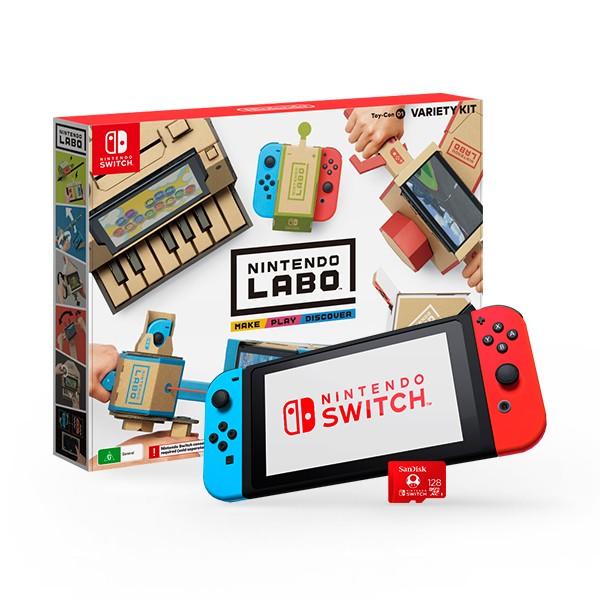 Nintendo Switch Azul - Rojo Neón + MicroSD Sandisk Nintendo - Labo Kit Variado