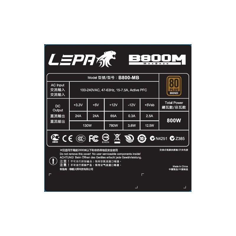 Fuente Alimentación Lepa MaxBron 800W 80PLUS Bronze Modular