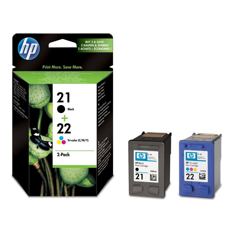 HP 21 / 22 Cartucho de Tinta Original Pack Negro + Color