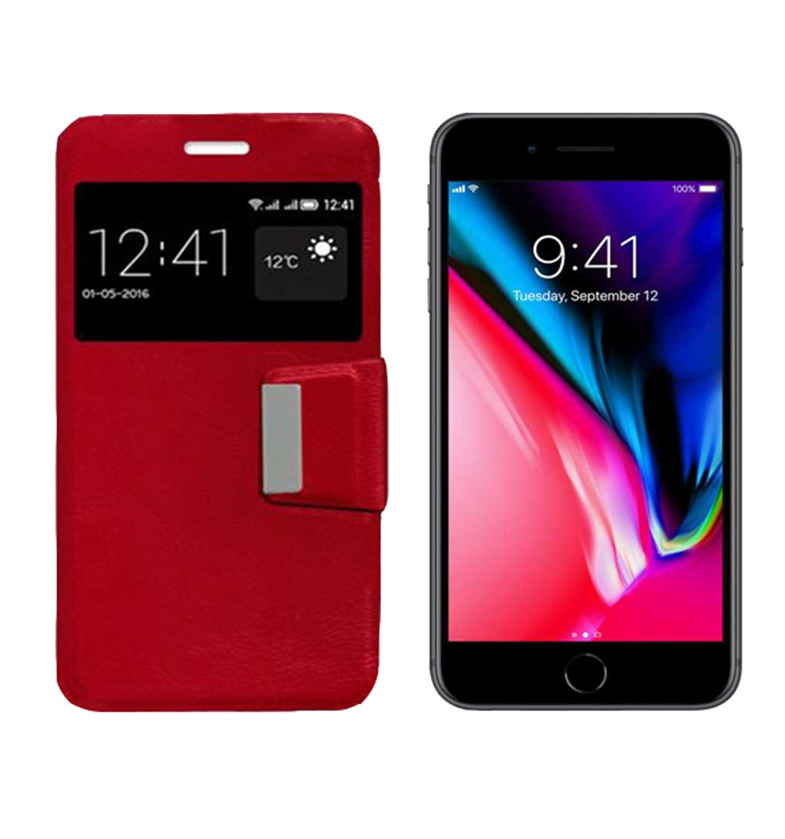 iPhone 8 Plus Funda Flip Cover Rojo