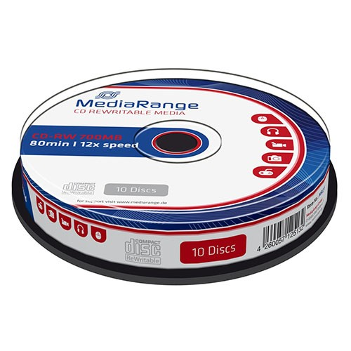 CD-RW 12x 700MB MediaRange Regrabable Tarrina 10 uds