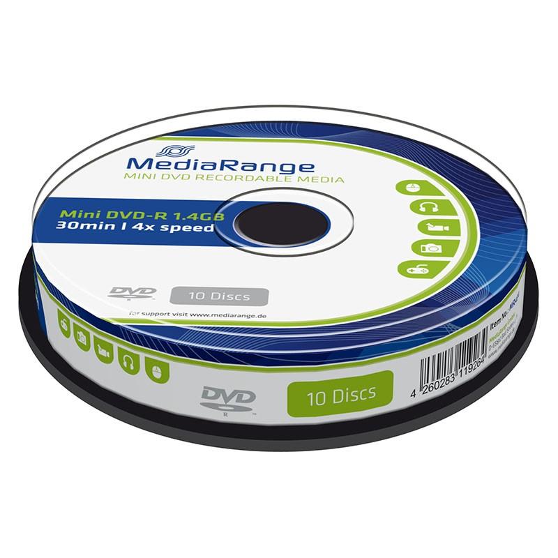 MINI DVD-R MediaRange 1.4GB 8cm 4X Tarrina 10 uds