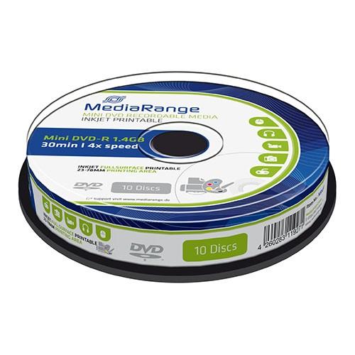 Mini DVD-R Mediarange 8cm Ink Jet Printable Tarrina 10 uds