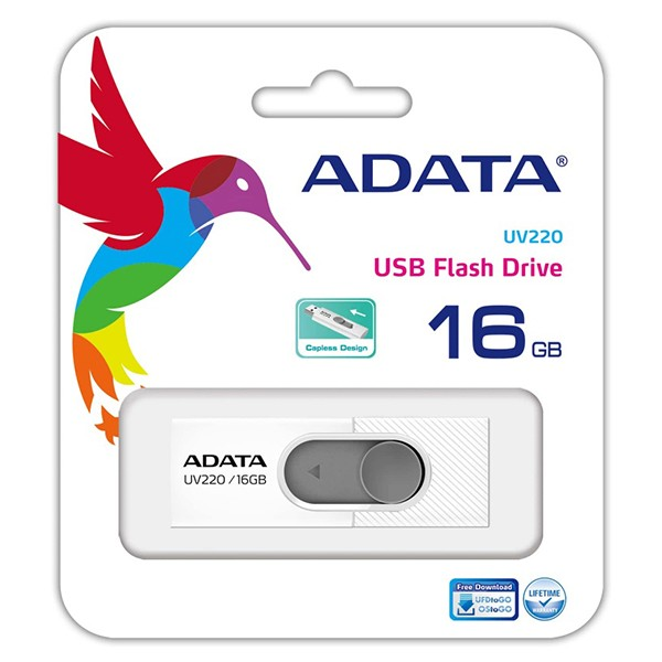 Pendrive 16GB Adata UV220 Blanco/Gris
