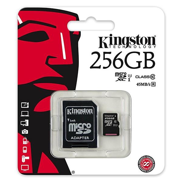 Tarjeta MicroSDXC 256GB UHS-I Kingston SDC10G2 c/Adaptador