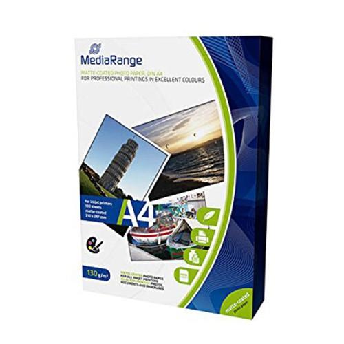 MediaRange Papel Foto Mate 130 G/m2 Pack 100 uds A4