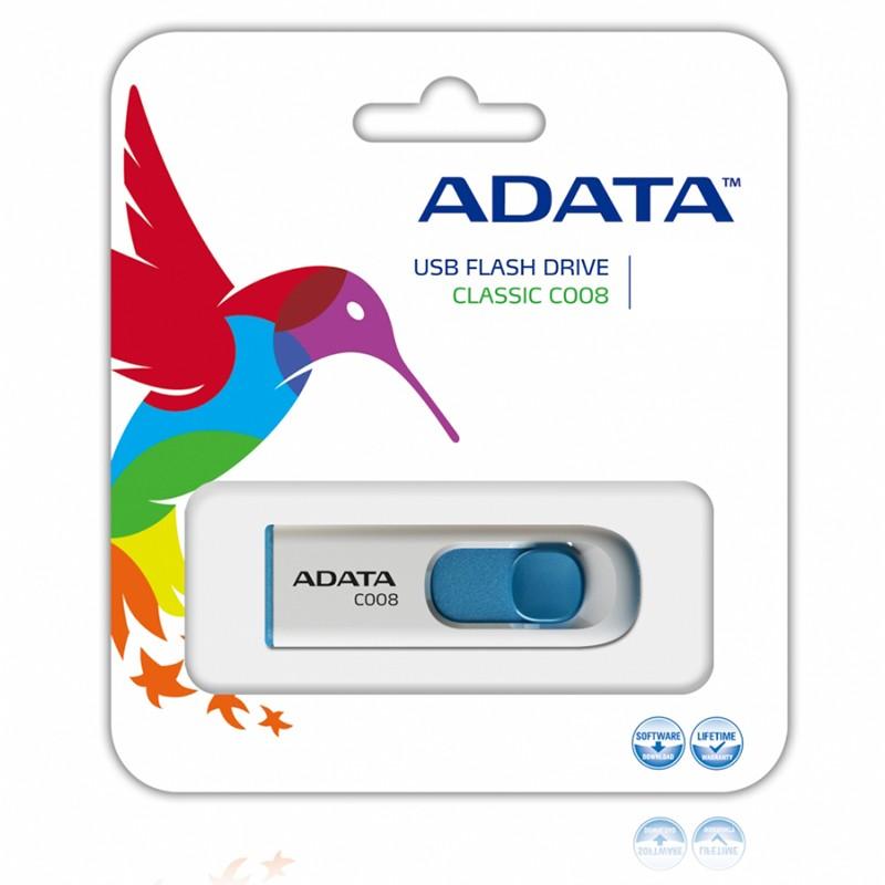 Pendrive 32GB Adata Classic Series C008 Blanco Azul