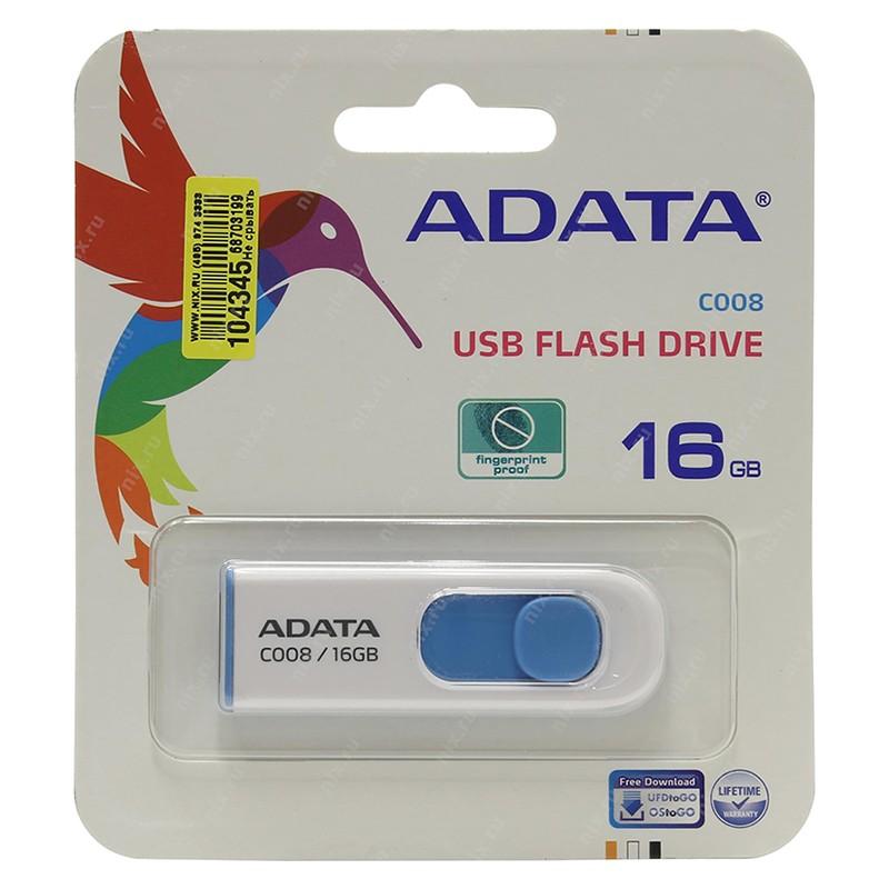 Pendrive 16GB Adata Classic Series C008 Blanco Azul
