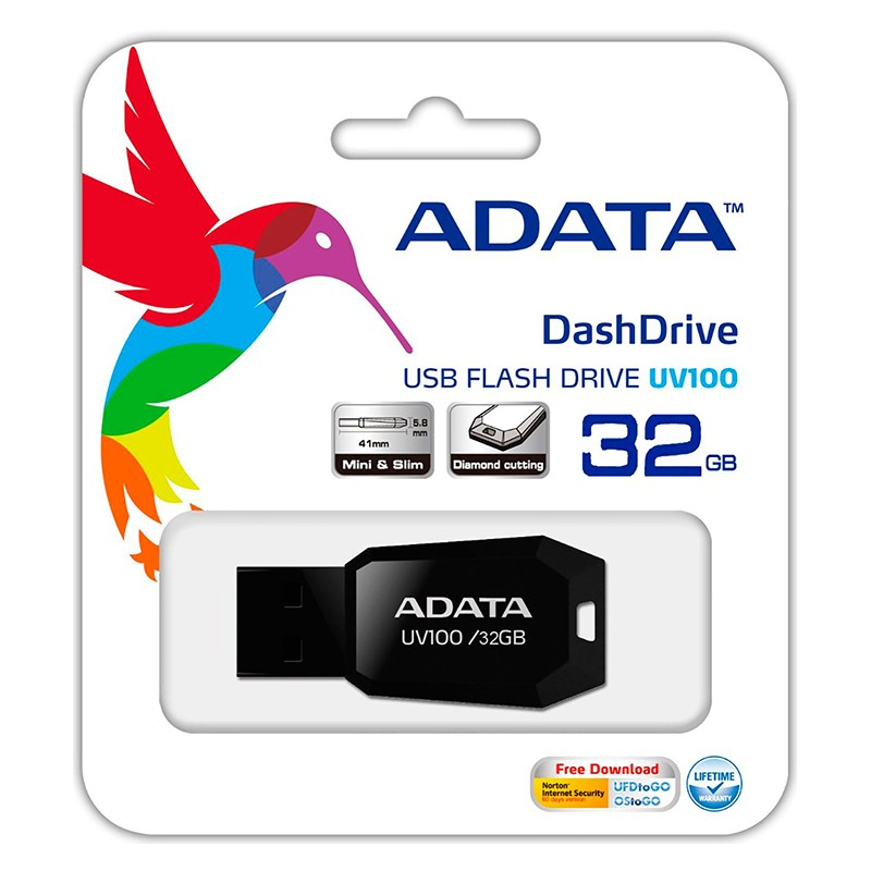 Pack 10 Unidades Pendrive 32GB Adata UV100 USB 2.0 Negro