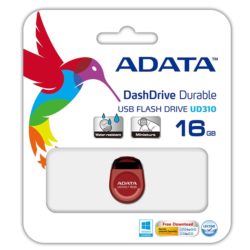 Pendrive 16GB Adata UD310 USB 2.0 Tipo Gema Rojo