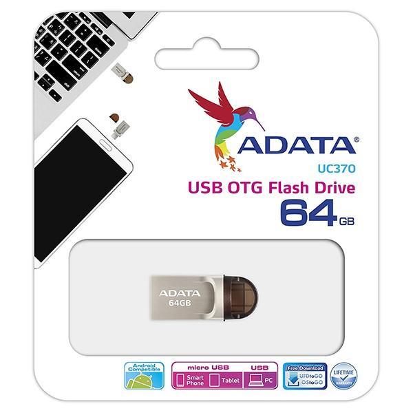 Pendrive 64GB Adata UC370 USB 3.1 OTG Plata