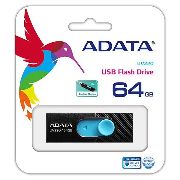 Pendrive 64GB Adata UV220 Negro/Azul