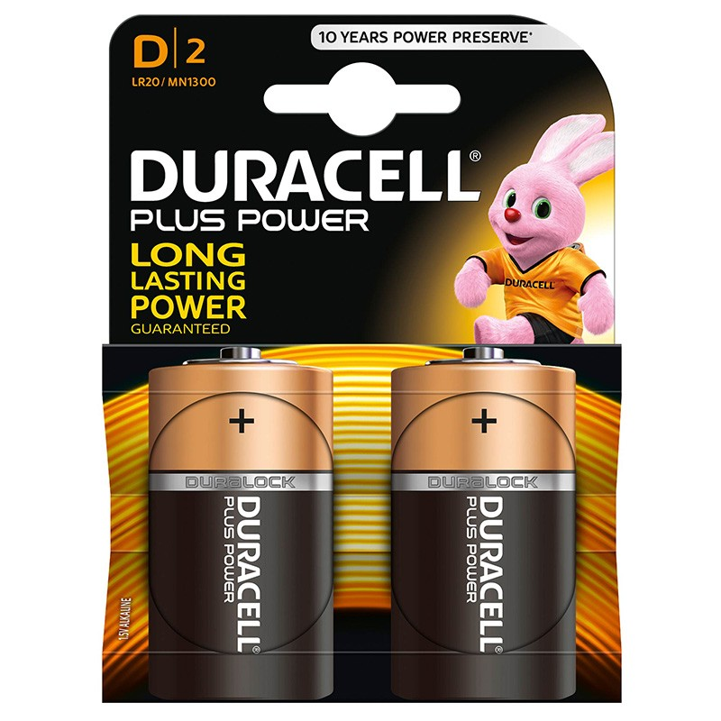 Pila Alcalina D Duracell Plus Power MN1300B2 Pack 2uni