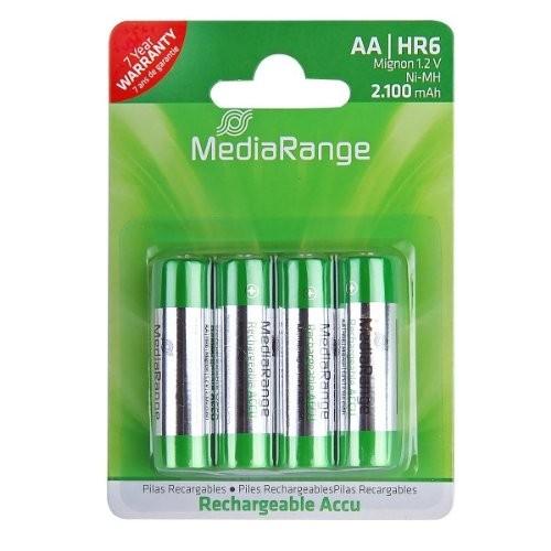Pilas Recargables AA HR6 2100mAh MediaRange pack 4 uds