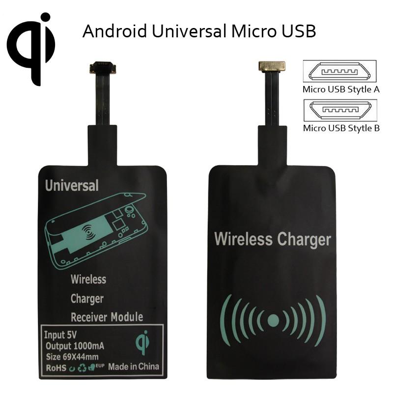 Módulo Receptor de Carga Inalámbrica Ultra Fino Micro USB para Android
