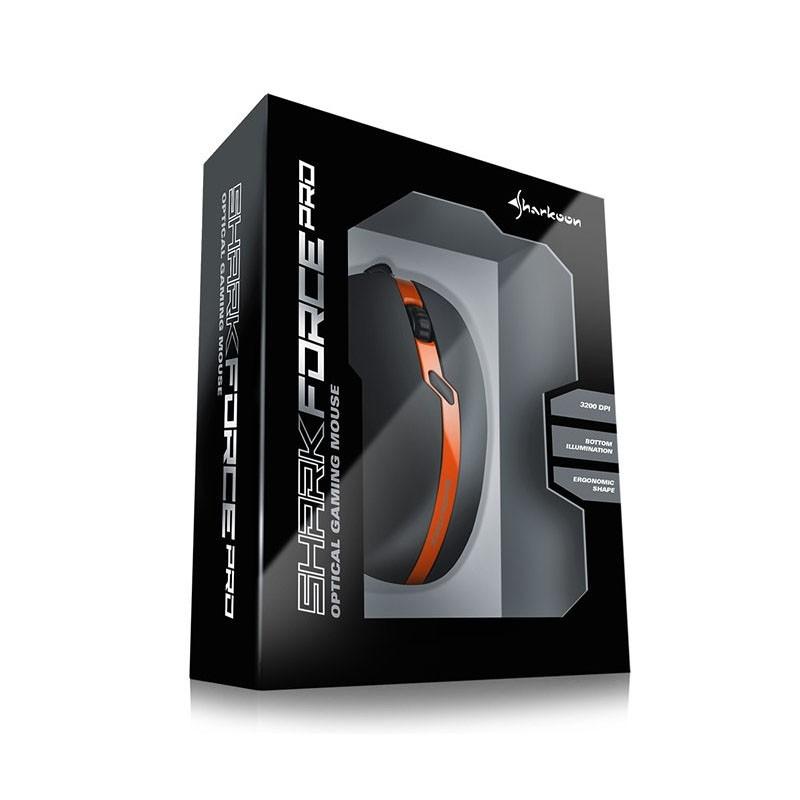 Ratón Óptico USB Sharkoon Shark Force Pro 3200DPI Negro / Naranja