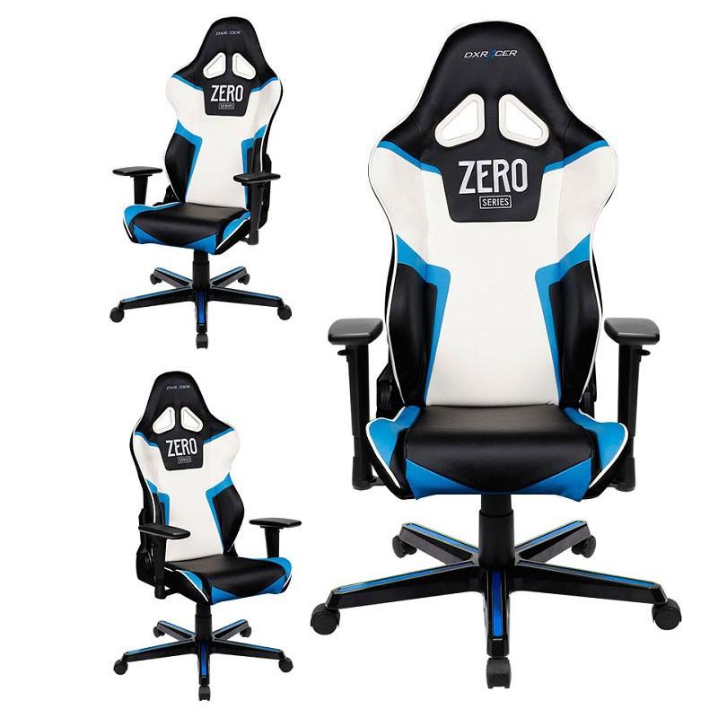 Silla dxracer r series oh rz118 nbw negra azul blanca for Silla gamer dxracer