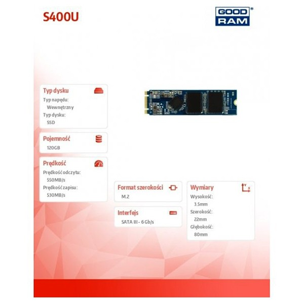 SSD M.2 2280 120GB GoodRam S400u Retail