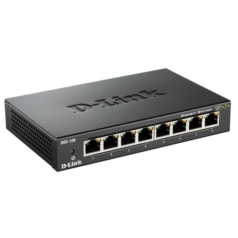Switch 8 Puertos Gigabit D-Link DGS-108 10/100/1000Mbps RJ45