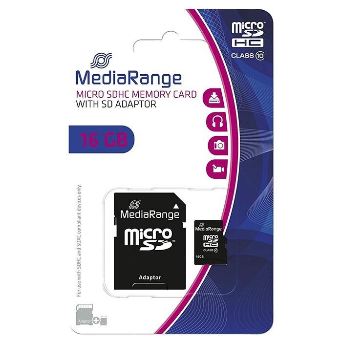 Tarjeta MicroSDHC 16GB Clase 10 Mediarange MR958 c/Adapt