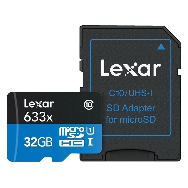 Tarjeta MicroSDHC 32GB Clase 10 UHS-I Lexar 633x c/Adaptador