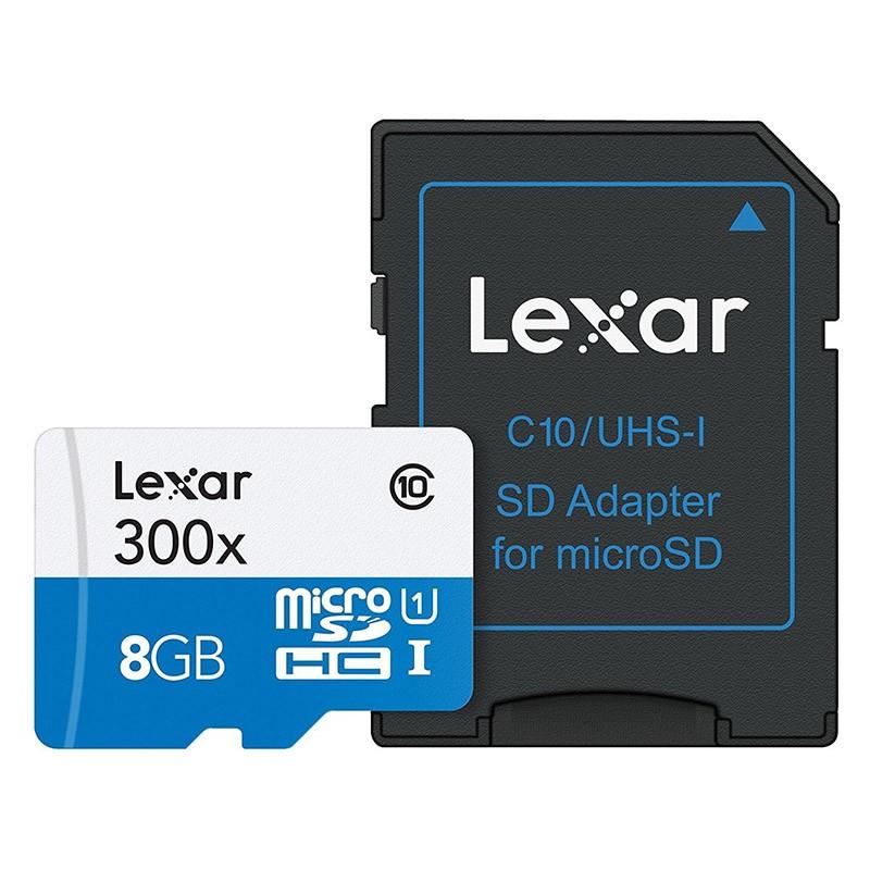 Tarjeta MicroSDHC 8GB Clase 10 UHS-I Lexar 300x c/Adaptador
