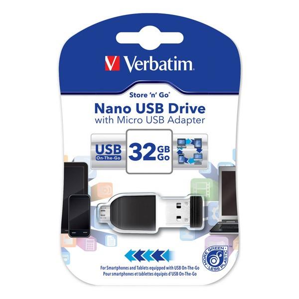 Pendrive 32GB con Adaptador MicroUSB Verbatim Nano