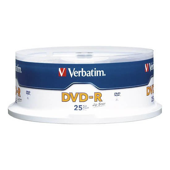 DVD-R 16x Verbatim Life Series with Branded Surface Tarrina 25 uds