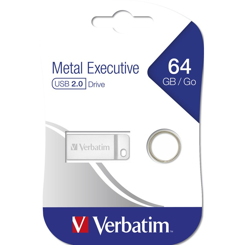 Pendrive 64GB Verbatim Metal Executive Plata