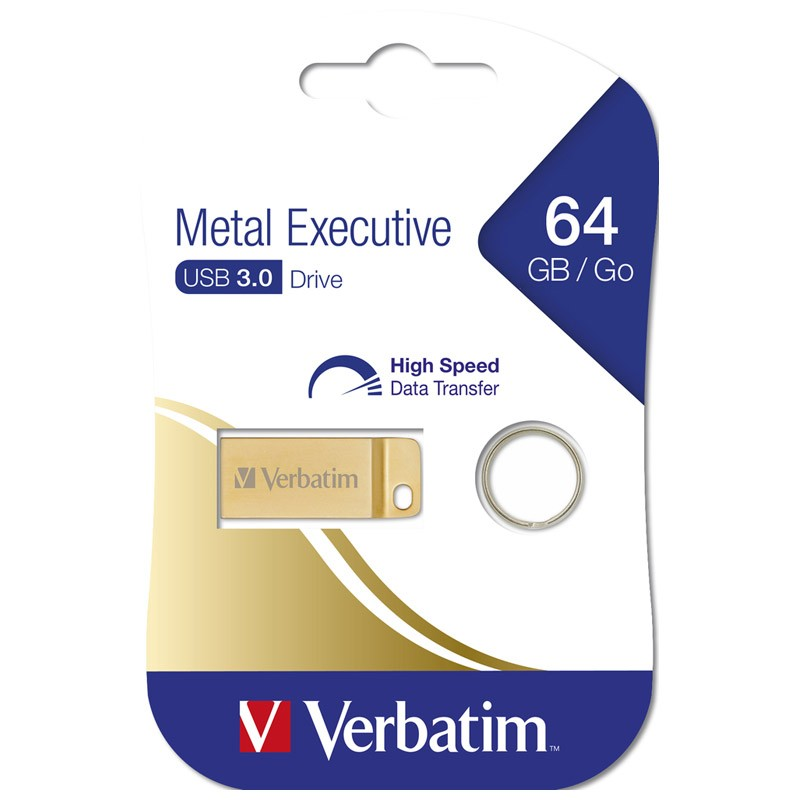 Pendrive 64GB Verbatim Metal Executive USB 3.0 Dorado