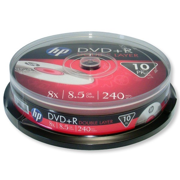 DVD+R Doble Capa 8X HP Tarrina 10 uds