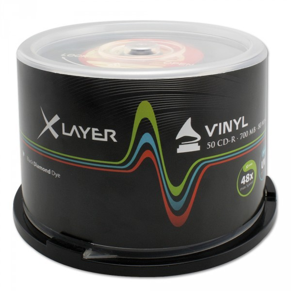 CD-R 48x 700MB Xlayer Vinyl Negro Tarrina 50 uds