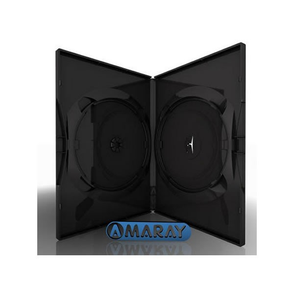 Caja DVD 14mm Amaray 2 discos Negro Pack 50