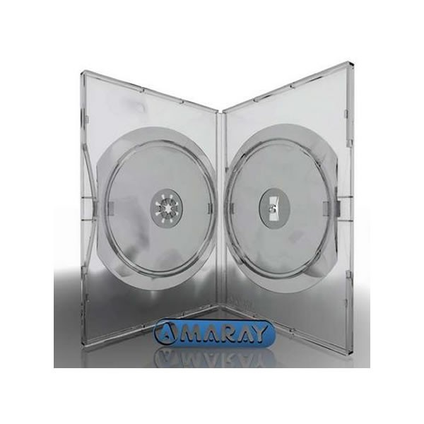 Caja DVD 14mm Amaray 2 discos Transparente pack 50