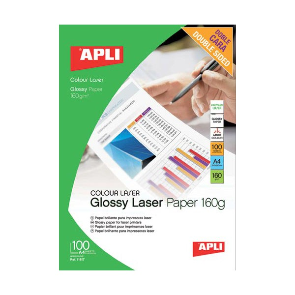 Apli Papel Foto Laser Glossy Doble Cara 160 G/m2 Pack 100 uds A4