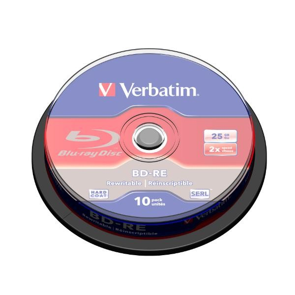 Blu-ray BD-RE SL 25GB 2x Verbatim (Regrabable) Tarrina 10 uds