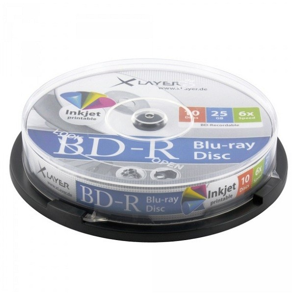 Blu-ray BD-R SL 25GB 6x XLayer InkJet Printable Tarrina 10 uds