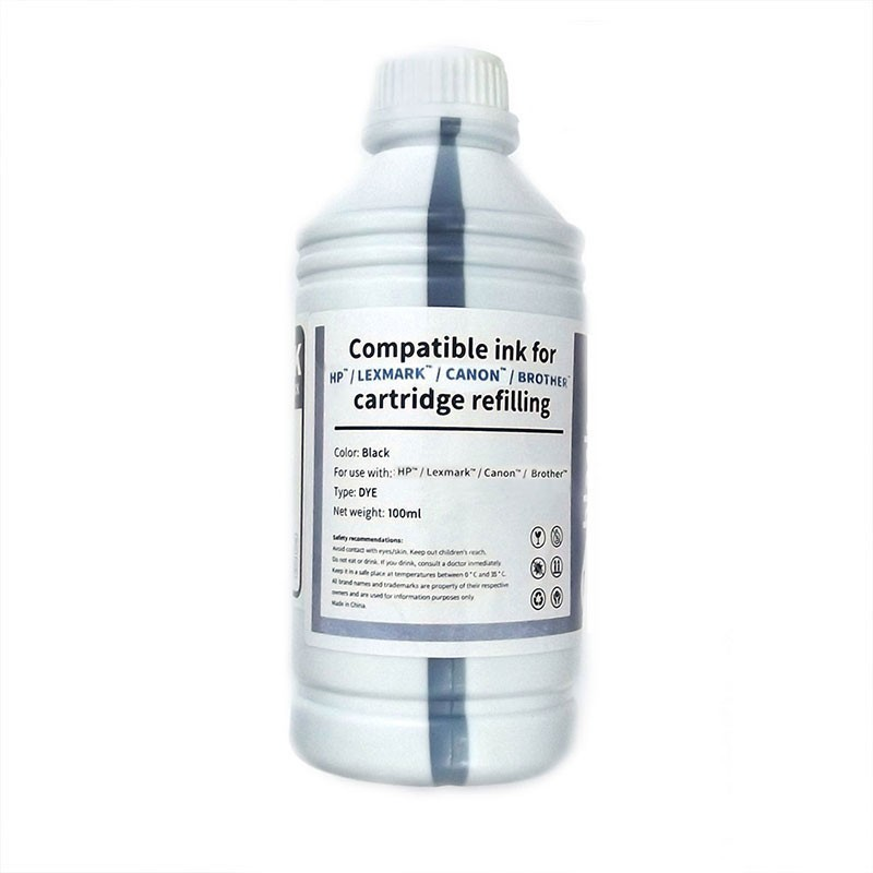 HP/Lexmark/Canon/Brother Bote Tinta Compatible para Recarga Negro 100ml